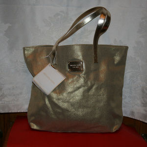 Michael Kors Large Gold Shimmer Tote / Carry On